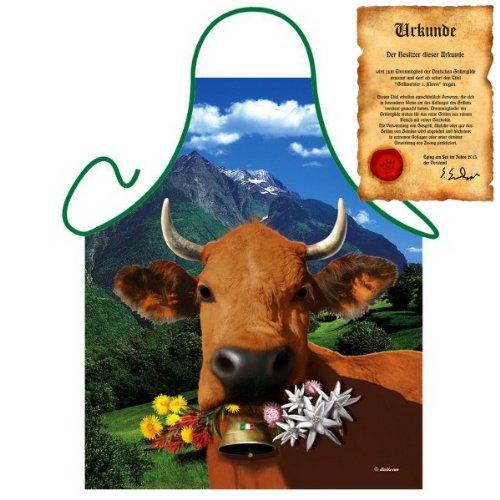 Bayern Motiv: Italienische braune Kuh - Fun - Schürze one Size Fb bunt mit GRATIS Geschenk-Urkunde : )