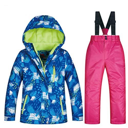 XYYHTL skipak voor kinderen, sneeuwpak voor sport, vrije tijd, ski-pak, ski-jack + skibroek, rieten pak, set winddicht, waterdicht, winter skikleding