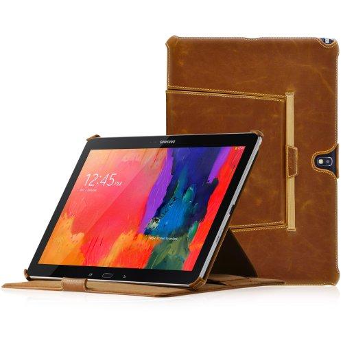 Ausschussware: MANNA UltraSlim Samsung Galaxy NotePRO 12.2 & TabPRO 12.2 Hülle | Hülle aus Kunstleder, braun mit farblich abgesetzter Naht | Aufstellbare Tasche |CleverStrap Handgurt |Autosleep Funktion |Schutzhülle mit zu Starken Magneten