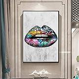 ganlanshu Quadro Senza Cornice Moderna Arte da parete in Tela Pop Art Decorativa su Tela labbra in Tela 50X90cm