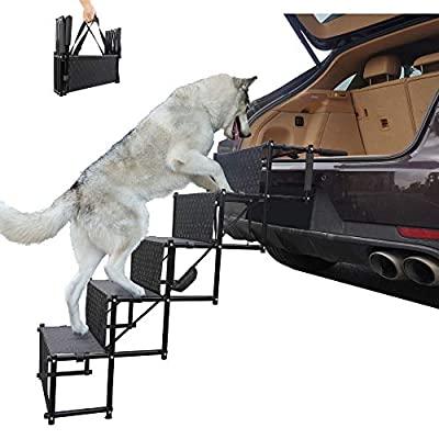maxpama Premium Nonslip Dog Car Steps?5 Steps for SUV, Trucks,Couch and High Beds - Durable Metal Frame Support up to 150 Lbs - Lightweight Folding Pet Ladder Ramp for Indoor Outdoor Use