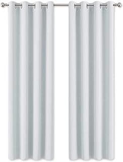 comprar comparacion PONY DANCE Cortinas Dormitorio Moderno - Térmicas Aislantes para Ventanas Habitación, 2 Uds, 140 x 245 cm, Blanco Gris
