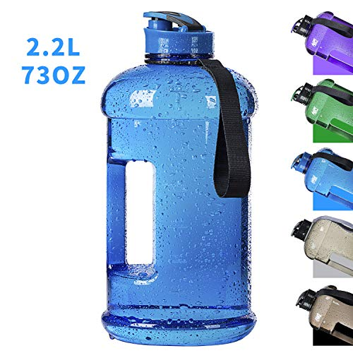 2.2L Half Gallon Dishwasher Usable//Ecofriendly//Tritan BPA Free Large Reusable Water Bottles Water Jug Plastic//Leakproof//Wide Mouth Drinking Gym Water Container for Men Women Fitness Outdoor Gym