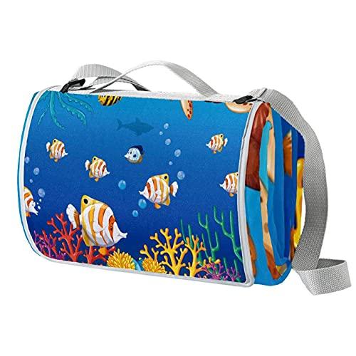 Vito546rton Impermeable portátil al aire libre animales peces medusas tortuga mar coral océano impresión picnic manta Mat con correa para acampar senderismo hierba viajar 57x59in
