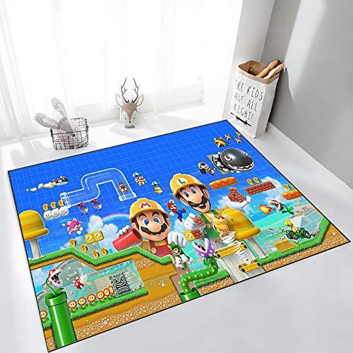 GOOCO 3D Super Mario Alfombra de área Grande para Sala de Estar y Zona de niños, Antideslizante para Sala de Juegos, Dormitorio, Nuevo Super Mario Bros