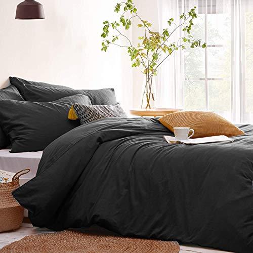 Lanqinglv Bettwäsche 135x200cm Grau Anthrazit Dunkelgrau Uni Unifarben Weiche Microfaser Bettbezug Deckenbezug mit Reißverschluss und Kissenbezug 80x80cm