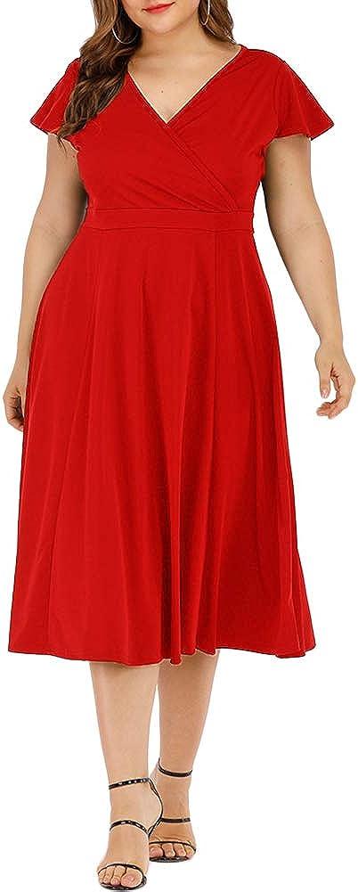 Agmibrelr Women's Plus Size Flutter Sleeve Dress Deep V Neck A-Line Swing Midi Dresses