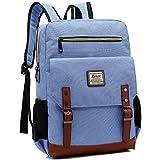 Kenox Mens Large Vintage Canvas Backpack School Laptop Bag Hiking Travel Rucksack (Bluefabric)