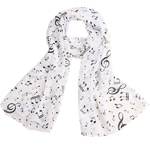 Gespout Pañuelos Bufanda para Mujer de Otoño Invierno Bufanda de Gasa Cómodo Cálido Scarves de Accesorios de Ropa Regalo de Cumpleaños Fiesta Nota Musical 1pcs