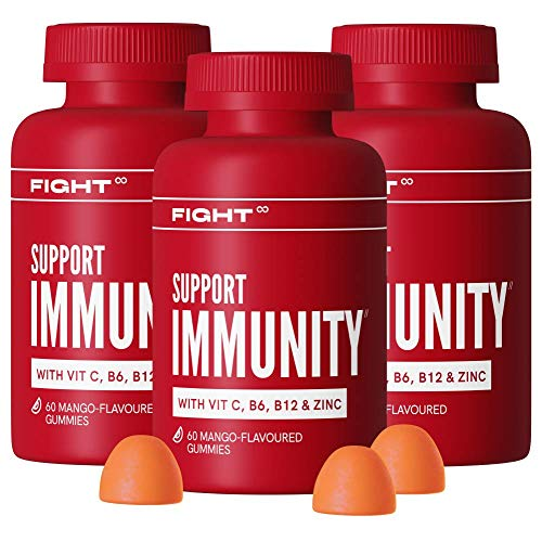 Vitamin D Immunity Mango Gummy Multivitamins by FIGHT | Vitamin D, Vitamin C, B12, Zinc + More | 3X 60 Vegan and Gluten Free Vitamin Gummies