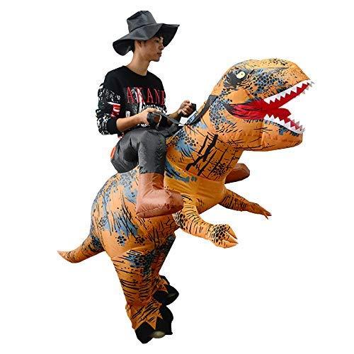 thematys Aufblasbares Dinosaurier Reiter Kostüm mit Hut - Lustiges Luftkostüm für Erwachsene 165cm-185cm - Perfekt für Karneval, Junggesellenabschied oder Halloween