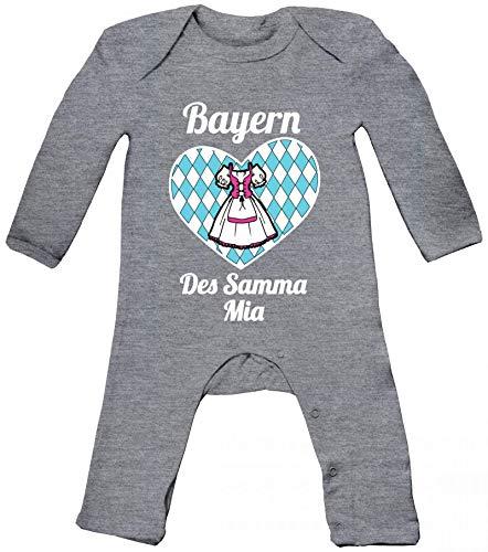 ShirtStreet Wiesn Gaudi Baby Strampler Langarm Schlafanzug Jungen Mädchen Dirndl Oktoberfest - Bayern des samma mia, Größe: 3-6 Monate,Heather Grey Melange