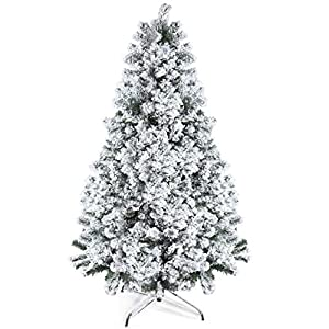 Prextex 6 Feet Snow Flocked Christmas Tree – 1200 Tips Premium Artificial Spruce Hinged Christmas Tree with White Heavy Snow Flocking Lightweight and Easy to Assemble with Christmas Tree Metal Stand