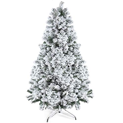 Prextex 6 Feet Snow Flocked Christmas Tree - Premium Artificial Spruce Hinged Christmas Tree with White Heavy Snow Flocking Lightweight and Easy to Assemble with Christmas Tree Metal Stand 1200 Tips