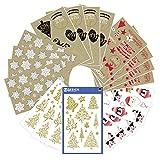 AVERY Zweckform Set Aufkleber Weihnachten 216 Sticker (moderne Weihnachtssticker, Weihnachtspost, selbstklebend, Glitzer, gold, Weihnachtsdeko, Basteln, Geschenke, Karten, Weihnachtsgrüße)...