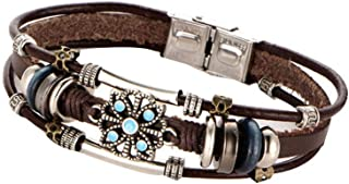 Antique Multilayers Flower Bracelet Bohemian Adjustable Beads Leather Bangles Wristband Wrist Decor