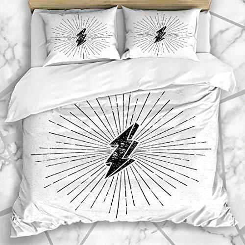 Jojun Duvet Cover Sets Shape Bolt Vintage Thunder Sunburst Starburst Ray Hipster Lightning Shine Drawn Drawing Design Burst Microfiber Bedding with 2 Pillow Shams Easy Care Anti-Allergic Soft Sm
