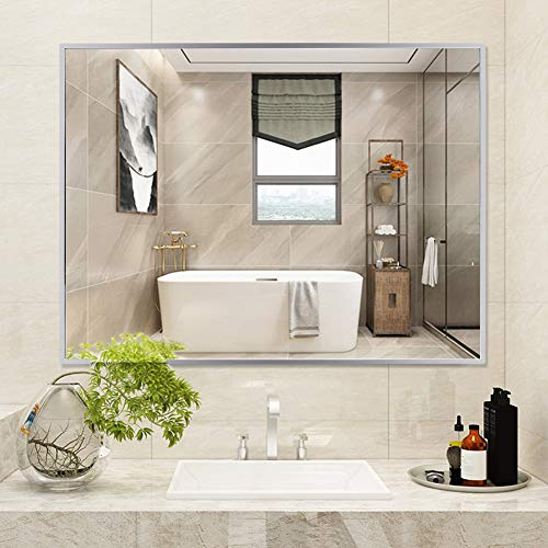 WATERJOY Large Rectangular Bathroom Wall Mirror, Stainless Steel Frameless Vanity Glass Make-up -