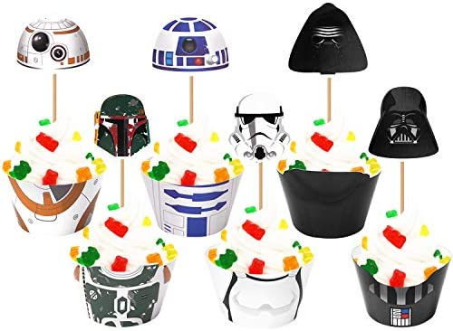 48PCS Cupcake Toppers and Cupcake Wrappers Liners for Star Great Wars Themed Kids Adults Birthday product image