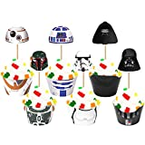 48PCS Cupcake Toppers and Cupcake Wrappers Liners for Star Great Wars Themed Kids Adults Birthday Party Supplies Cake Decorations