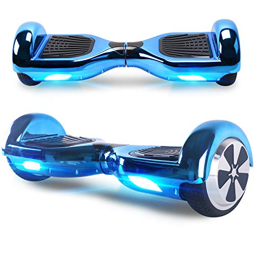 Windgoo Hoverboard, 6.5 Zoll Self Balance Scooter mit Starker Dual Motor - LED Lights Elektro Scooter, Self Balancing Scooter für Kinder (Chromblau)