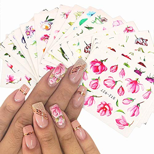 Dufy 24 Sheets Nail Art Stickers Classic Rose Watercolor Pink Tulips Flowers Designs Summer Fashion Trend Water Transfer Nail Slider Decals Butterflies Leaves Pattern for DIY Nail Art Decorations