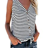 Sunhusing Fashion!Women's Sexy Sleeveless Vest V-Neck Striped Button Buckle Hem Bow Tie T-Shirt by Sunhusing
