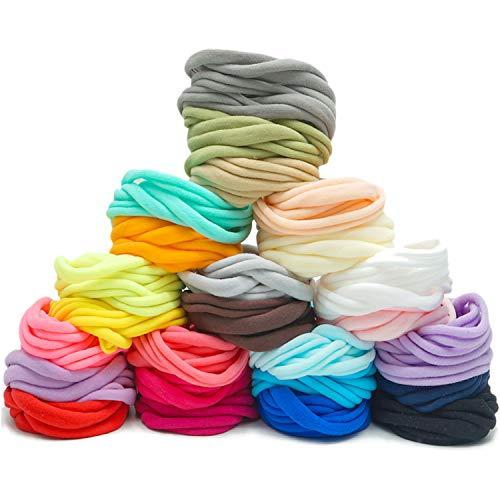 200 unidades de 25 colores de alta elasticidad DIY Nude Nylon diademas elásticas para bebé bebé diadema bucles lazos manualidades proyectos y actividades deportivas de yoga para mujer