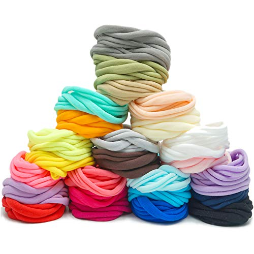 200 Pieces 25 Colors High Stretch DIY Nude Nylon Headbands Elastics for Baby Infant Hair Bows Headbands Ear Band Loops Ties Crafts Projects and Women's Yoga Sports Activities