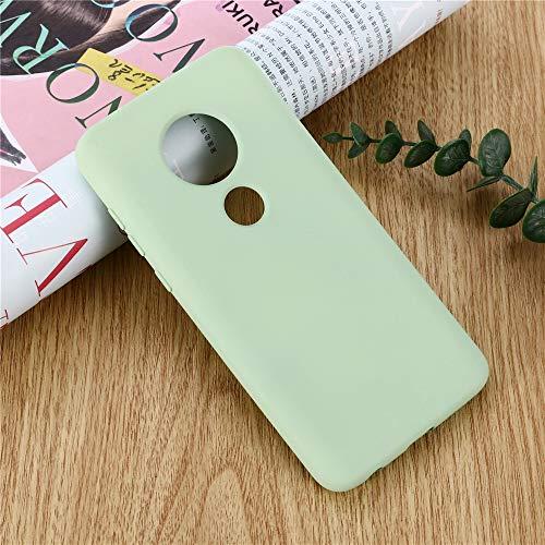 BUVYphonecase Funda for teléfono móvil Funda de Cobertura Completa a Prueba de Golpes de Silicona líquida de Color sólido for Motorola Moto G7 Power (Amarillo) (Color : Green)