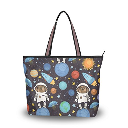 Ahomy Umhängetasche Hund Astronaut Rakete Stern Weltraum Handtasche für Outdoor Gym Wandern Picknick Reisen Strand, Mehrfarbig - multi - Größe: L