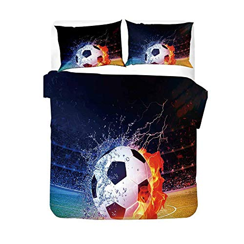 GJKIEB Funda nórdica Impresa en 3D Fútbol Azul Rojo Agua Fuego Blanco y Negro Ropa de Cama de Fibra de poliéster 260cmx220cm Nórdica de fácil Cuidado 2 X Pillowcase 50x75cm.
