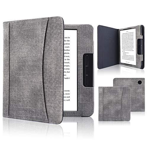 ACcolor Folio Hülle für Kobo Libra H2O 2019 Released - PU Leder Schutzhülle Tasche mit Auto Sleep/Wake Funktion für Kobo Libra H20 eReader, Grau