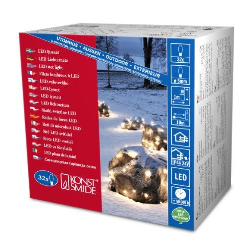 Konstsmide 3748-100 Filet Lumineux 32 LED Blanc Chaud + Câble Noir 24 V