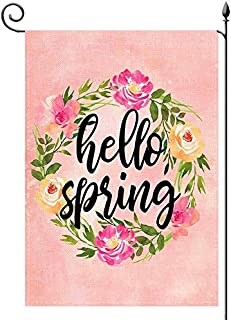 YaoChong Hello Spring Floral Wreath Garden Flag Vertical Double Sided 12.5x18 Inch,Watercolor Pink Small Garden Flag Holid...