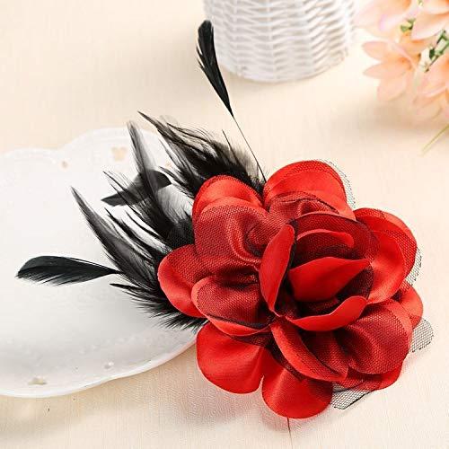 XKMY Pulsera de muñeca con diseño de rosas de plumas de gama alta, hecha a mano, broche de flor para mujer, collar de solapa, para boda, ropa y accesorios (color metálico: 1)