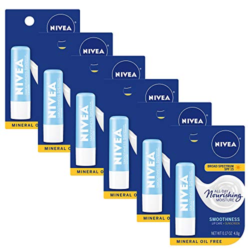 NIVEA Smoothness Lip Care SPF 15 Carded, 1 Count, Pack of 6