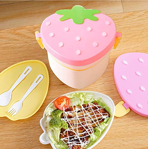 Caja de Almuerzo de Plástico Verde, Caja de Bento con Compartimentos Cubiertos Capas con 1 Tenedor y 1 Caja de Alimentos Ideal para Almuerzo y Bocadillos para Niños y Adultos (500ML)