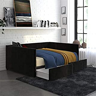 DHP MYA Upholstered Daybed with Storage in Full in Black Velvet