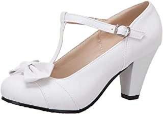 a40d3c37126 Artfaerie Womens Lolita T-Strap Bows Mary Janes Adorable Buckle Cone High  Heel Dress Chic