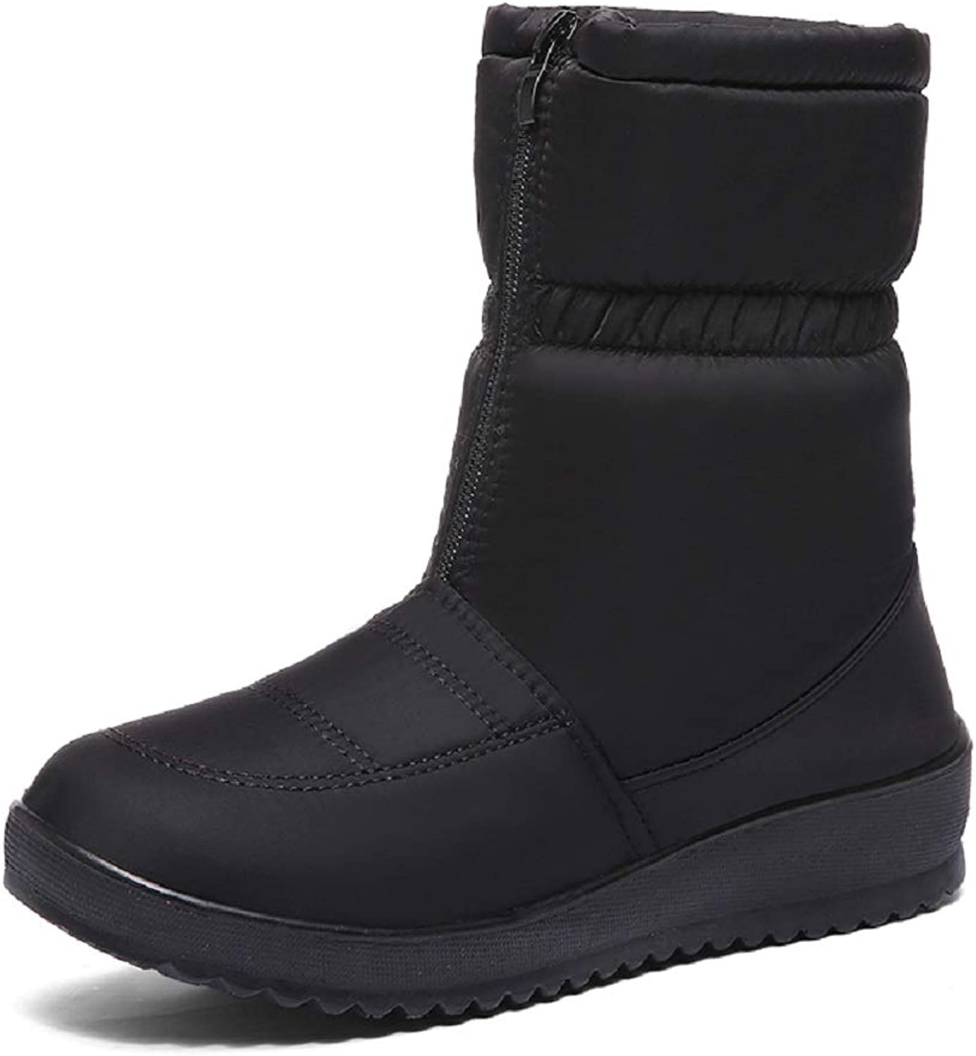 LingGT Waterproof Boots Women Cotton Fur Lined Warm Comfort shoes (color   Black, Size   CA 5)