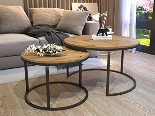 Couchtisch CIRI 2in1 Modern Loft Beistelltisch Kaffeetisch Sofatisch Weiß/Schwarz Tisch Eiche WOTAN/Sonoma/Artisan/Stirling (Schwarz, Artisan Eiche)