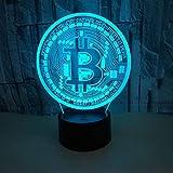 3D Lámpara óptico Bitcoin Illusions Luz Nocturna,LED Luces Noche para Niños Decoración Tabla Lámpara de Escritorio 7 Colores Cambio de Botón Táctil,Festival Cumpleaños Regalo