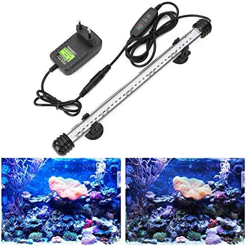 GreenSun Luz LED Sumergible para Acuarios, Barra de luz Subacuatica 4,8W 28cm Lampara Sumergible Acuario LED, Tubos de Luz Impermeable, Blanco + azul