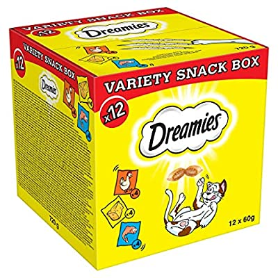 Dreamies Cat Treats Variety Pack, Snacks with Chicken, Salmon and Cheese, 12 Pouches of 60 g