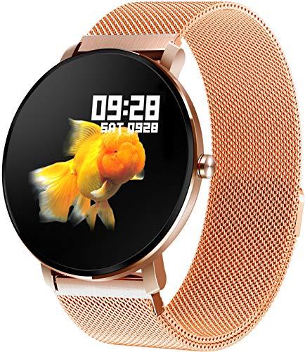 Gold Fitness Armband Voll Touchscreen Smartwatch IP68 wasserdichte Schlafanalyse Kalorienzähler Schrittzähler Aktivitätstracker Anruf Nachrichtenerinnerung