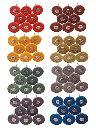 """80 Pack Buffing Wheels, Rocaris 1"""" Abrasive Buffing Polishing Wheels Burr for Rotary Tools-1/8"""