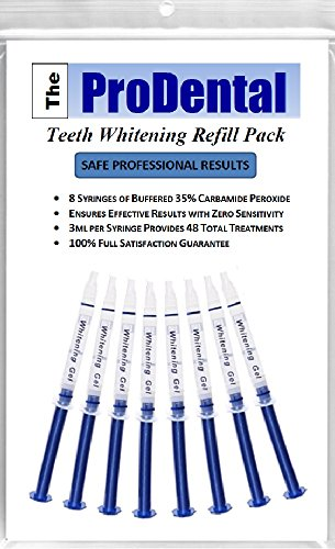 ProDental Teeth Whitening Gel Syringe Refill 8 Pack   35% Carbamide Peroxide - 48 Treatments   Faster Results Than Tooth Whitening Strips - Pen - Powders and Toothpaste   Safe for Sensitive Teeth