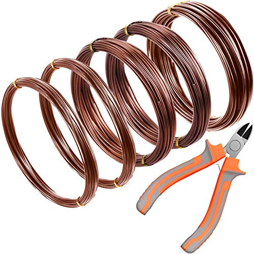 5 Roll Tree Training Wires 160 Feet Total with Bonsai Wire Cutter Anodized Aluminum Wire 1/ 1.5/ 2.0 mm Training Wire for Holding Bonsai Branches Small Trunks (Brown)