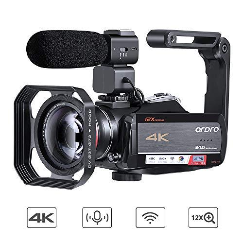 ORDRO 4K Camcorder Videokamera Ultra 1080P 60FPS Vlog Kamera 12X Optisches Objektiv 3,1-Zoll-IPS-Touchscreen-WiFi-Digitalkamera-Recorder mit Mikrofon-Weitwinkelobjektiv und 32 GB SD-Karte